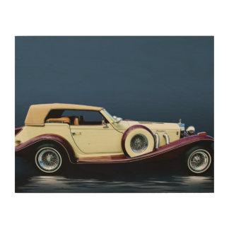 Excalibur Vintages Auto-hölzerner Leinwand-Druck Holzdruck