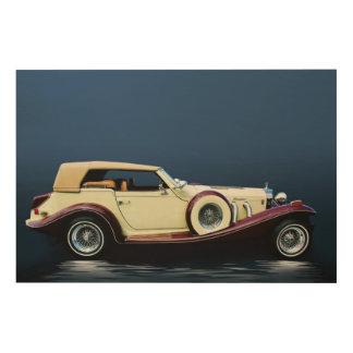 Excalibur Vintages Auto-hölzerner Leinwand-Druck Holzwanddeko