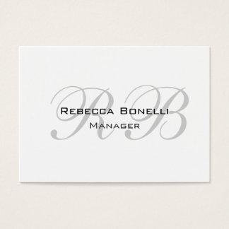 Exklusives einzigartiges weißes graues Monogramm Visitenkarte