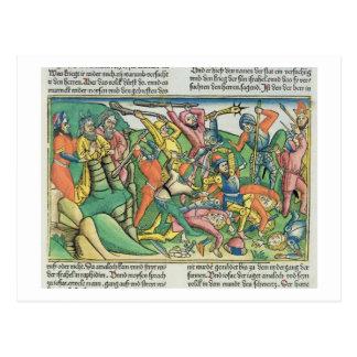 Exodus 17 8-15 Aaron und Hur stützen Moseses Hände Postkarte