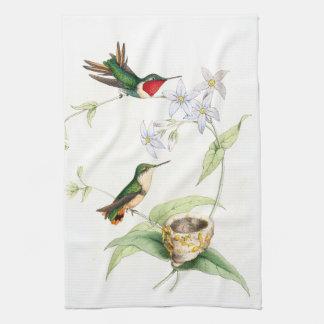 Exotische Kolibri-Vogel-Blumen-Nest-Küchen-Tücher Geschirrtuch