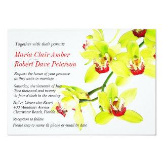 Exotische künstlerische grüne Orchideen, die 12,7 X 17,8 Cm Einladungskarte