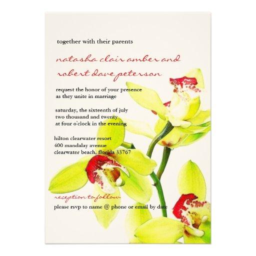 Exotische künstlerische grüne Orchideen, die Ankündigungskarte