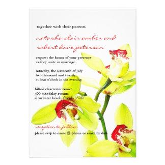 Exotische künstlerische grüne Orchideen, die Einladungskarte