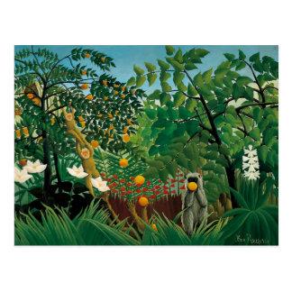 Exotische Landschaftspostkarte Henri Rousseaus Postkarte