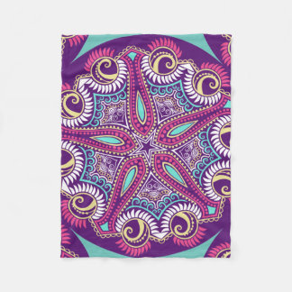 Exotische lila Fraktal Mandala Starfishverzierung Fleecedecke
