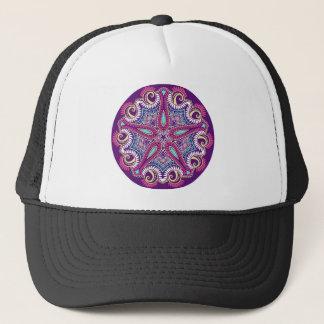 Exotische lila Fraktal Mandala Starfishverzierung Truckerkappe