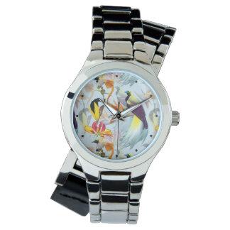Exotische Paradiesvögel und BlumenWatercolor Armbanduhr