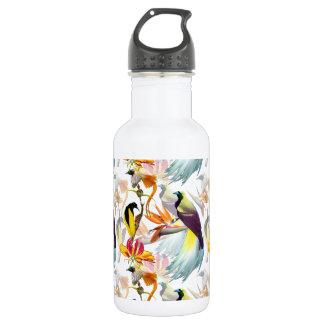 Exotische Paradiesvögel und BlumenWatercolor Edelstahlflasche