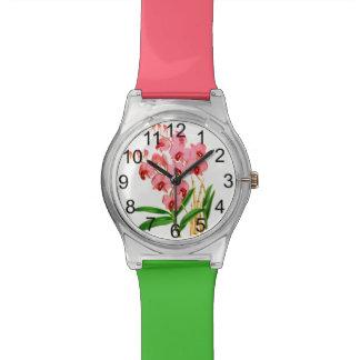 Exotische rosa Orchideen-Uhr Uhr