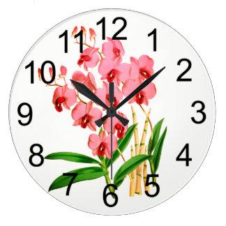 Exotische rosa Orchideen-Wanduhr Große Wanduhr