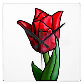 Exotische rote Buntglas-Tulpe Quadratische Wanduhr