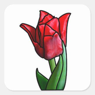 Exotische rote Buntglas-Tulpe Quadratischer Aufkleber