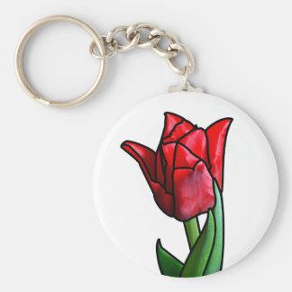 Exotische rote Buntglas-Tulpe Schlüsselanhänger