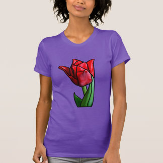Exotische rote Buntglas-Tulpe T-Shirt