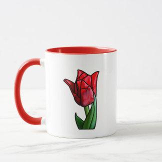 Exotische rote Buntglas-Tulpe Tasse