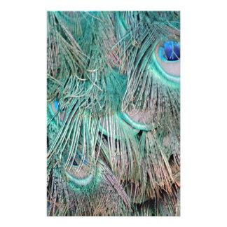 Exotischer Pfau versieht TAN und Grün mit Federn Druckpapier