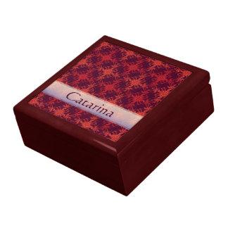 Exotischer roter und lila Damast-individueller Schmuckschachtel