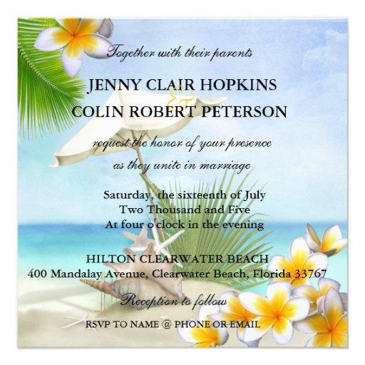 Exotischer Strand-kundenspezifische Hochzeits-Einl Personalisierte Ankündigungskarte