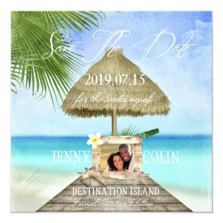 Exotischer Strand-kundenspezifisches Foto Save the Quadratische 13,3 Cm Einladungskarte