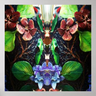 Exotischer tropischer blaue Orchideen-Entwurf Poster