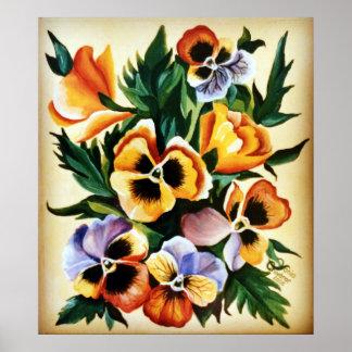 Exotischer Watercolor-mehrfarbiges Stiefmütterchen Poster