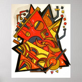 Exotischer Zug-Reise-Abstrakte Kunst geometrisch Poster