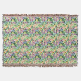 Exotisches blühendes Aquarell-Kaktus-Muster Decke