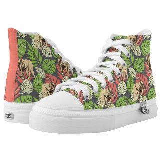 Exotisches Dschungel-Blätter und Elefanten Hoch-geschnittene Sneaker