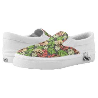 Exotisches Dschungel-Blätter und Elefanten Slip-On Sneaker