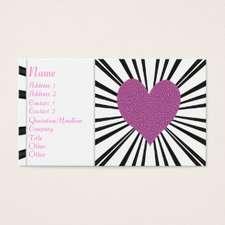 Explosion der Liebe (Rosa auf Schwarzem) Visitenkarte