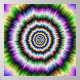 Explosion im violetten grünen und blauen Plakat