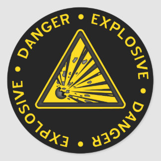 Explosiver warnender Aufkleber