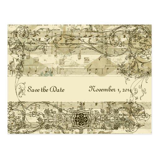 Extravagante antike Musik Save the Date Postkarten