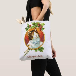 Extravagante Katze mit Vintagem Weihnachten der Tasche