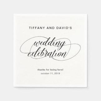 Extravagante Skript-Schwarzweiss-Hochzeit Papierserviette