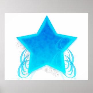 Extravaganter blauer Strudel-Stern Poster