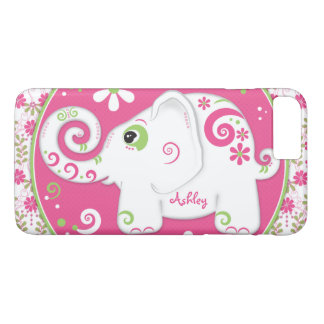 Extravaganter Elefant-rosa Mit Blumengrün iPhone 8 Plus/7 Plus Hülle