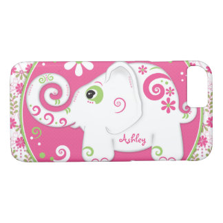 Extravaganter grüner rosa Elefant mit Blumen iPhone 8/7 Hülle