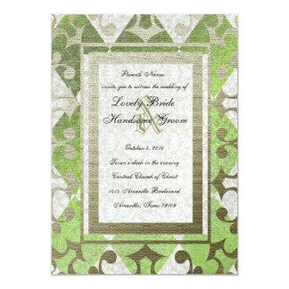 Extravaganter grünes Goldharlekin-mittelalterliche Personalisierte Einladung