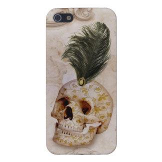 Extravaganter Schädel u. Feder auf Marmor Hülle Fürs iPhone 5