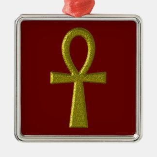 Extravagantes GoldAnkh erstklassige quadratische Silbernes Ornament