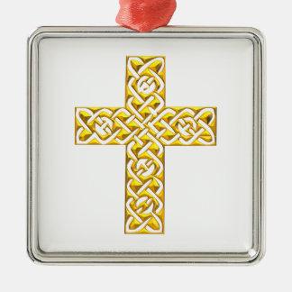 Extravagantes goldenes Kreuz Silbernes Ornament