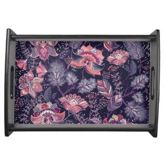 Extravagantes lila und rosa Blumen-Muster Tablett
