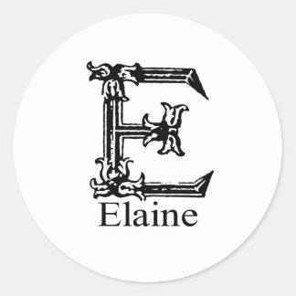 Extravagantes Monogramm: Elaine Runder Sticker