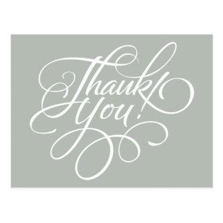 Extravagantes Skript-silbernes Grau danken Ihnen Postkarte