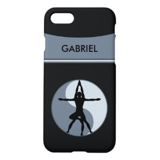 Extrem-oder Power-Yoga-Balancen-Symbol-grauer Lech iPhone 7 Hülle