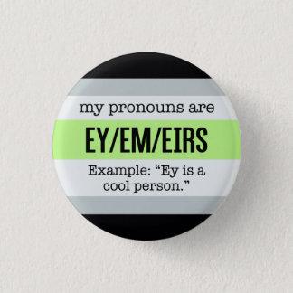 Ey/Em Pronomina - Agender Flagge Runder Button 3,2 Cm