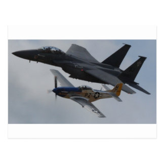 F-15 EAGLE + BILDUNG DES MUSTANG-P-51 POSTKARTE