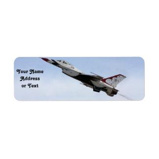 F-16 Thunderbird im Flug Rückversand-Adressaufkleber